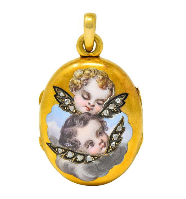 Victorian Rose Cut Diamond Enamel 18 Karat Gold Cherub Mourning Locket Pendant Necklace