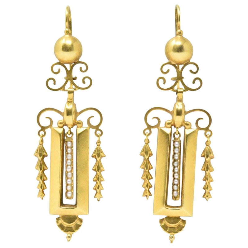 Victorian Seed Pearl & 14K Gold Drop Earrings CA 1890 Earrings