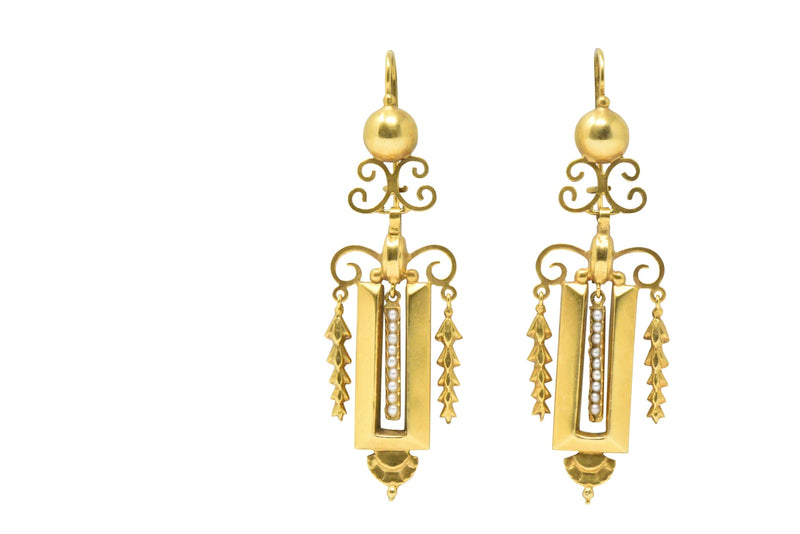 Victorian Seed Pearl & 14K Gold Drop Earrings, CA 1890 - Wilson's Estate Jewelry