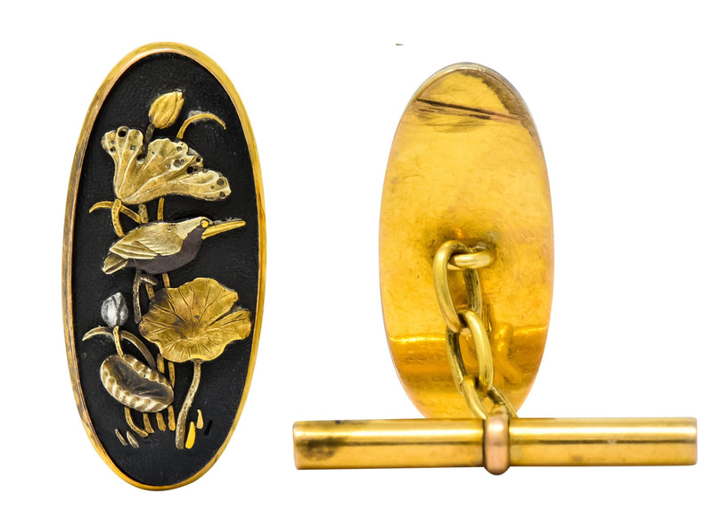 Victorian Shakudo 14 Karat Gold Mixed Metal Floral Bird Men's Cufflinks - Wilson's Estate Jewelry