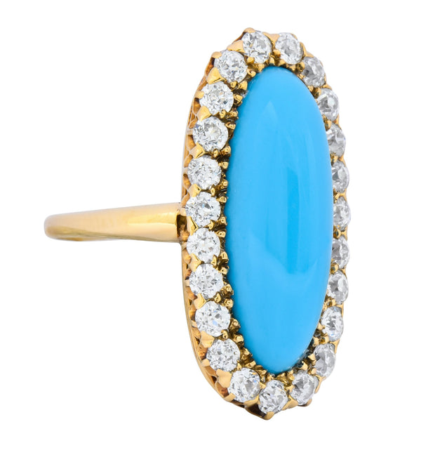 Victorian Tiffany & Co. 2.00 CTW Diamond Turquoise 18 Karat Gold Cluster Ring Circa 1880 Ring