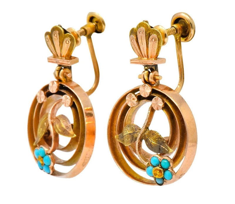 Victorian Turquoise 10 Karat Tri-Gold Floral Earrings - Wilson's Estate Jewelry