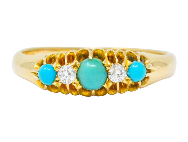 Victorian Turquoise Diamond 18 Karat Yellow Gold Band Ring Ring