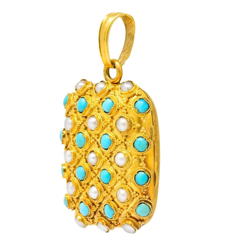 Victorian Turquoise Pearl 18 Karat Gold French Locket Pendant - Wilson's Estate Jewelry