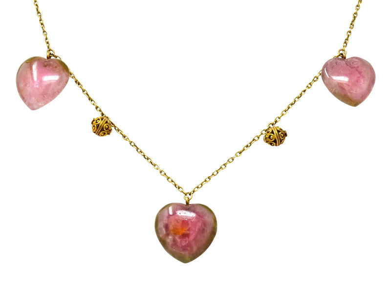Victorian Watermelon Tourmaline 14 Karat Gold Heart Station Necklace - Wilson's Estate Jewelry
