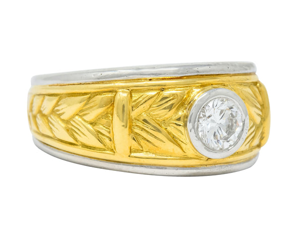 Vintage 0.47 CTW Diamond Platinum 18 Karat Gold Band Ring - Wilson's Estate Jewelry