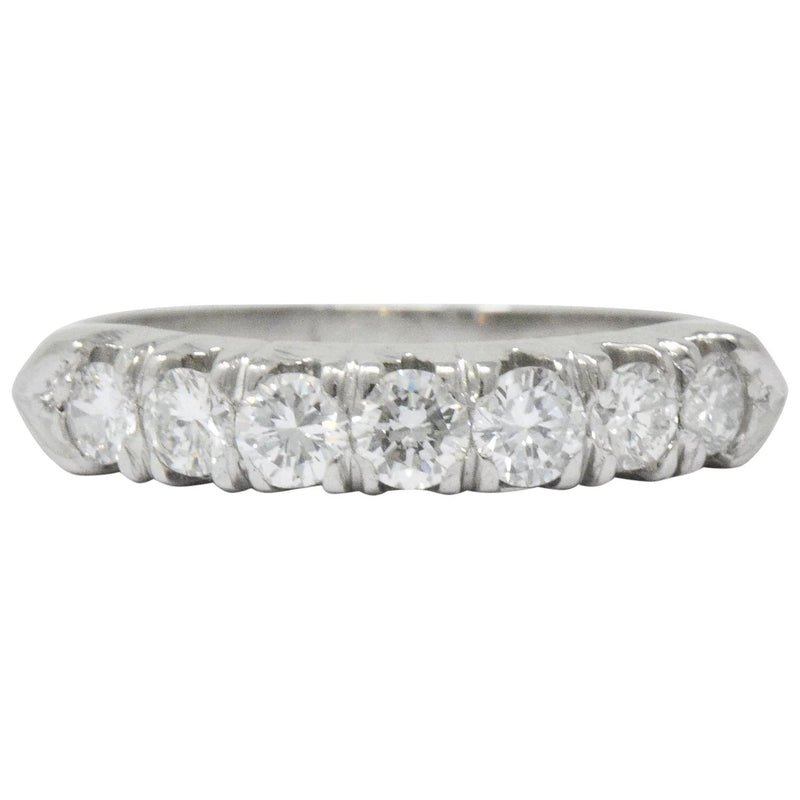 Vintage 0.75 CTW Seven Diamond Platinum Stackable Ring - Wilson's Estate Jewelry