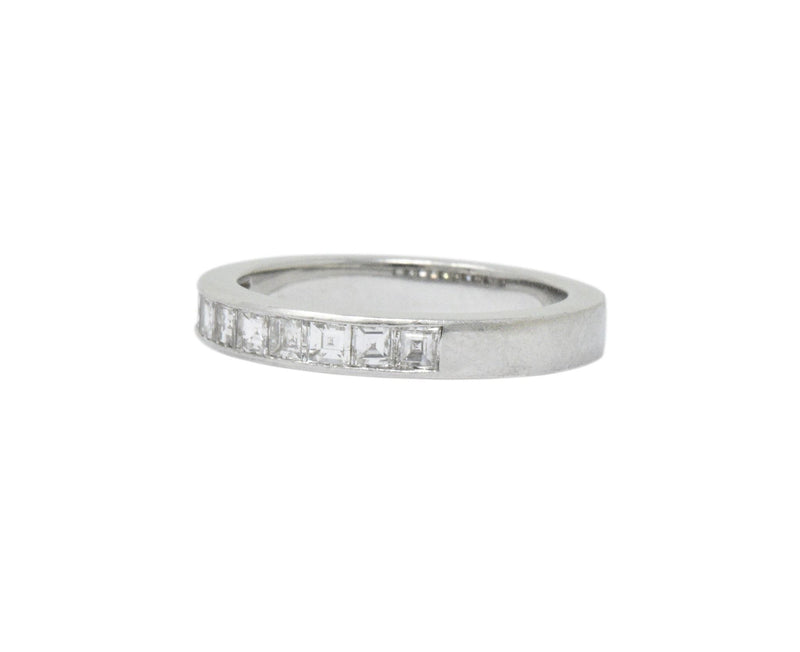 Vintage 1.00 CTW Diamond Platinum Band Stackable Ring Ring Contemporary