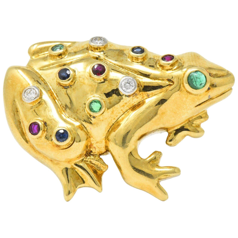 Vintage 1.25 CTW Diamond Emerald Ruby Sapphire 18 Karat Gold Frog Brooch - Wilson's Estate Jewelry