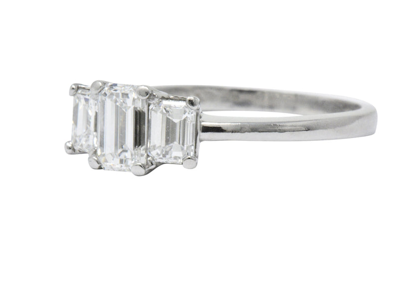 Vintage 1.40 CTW Emerald Cut Diamond Platinum Three Stone Engagement Ring - Wilson's Estate Jewelry