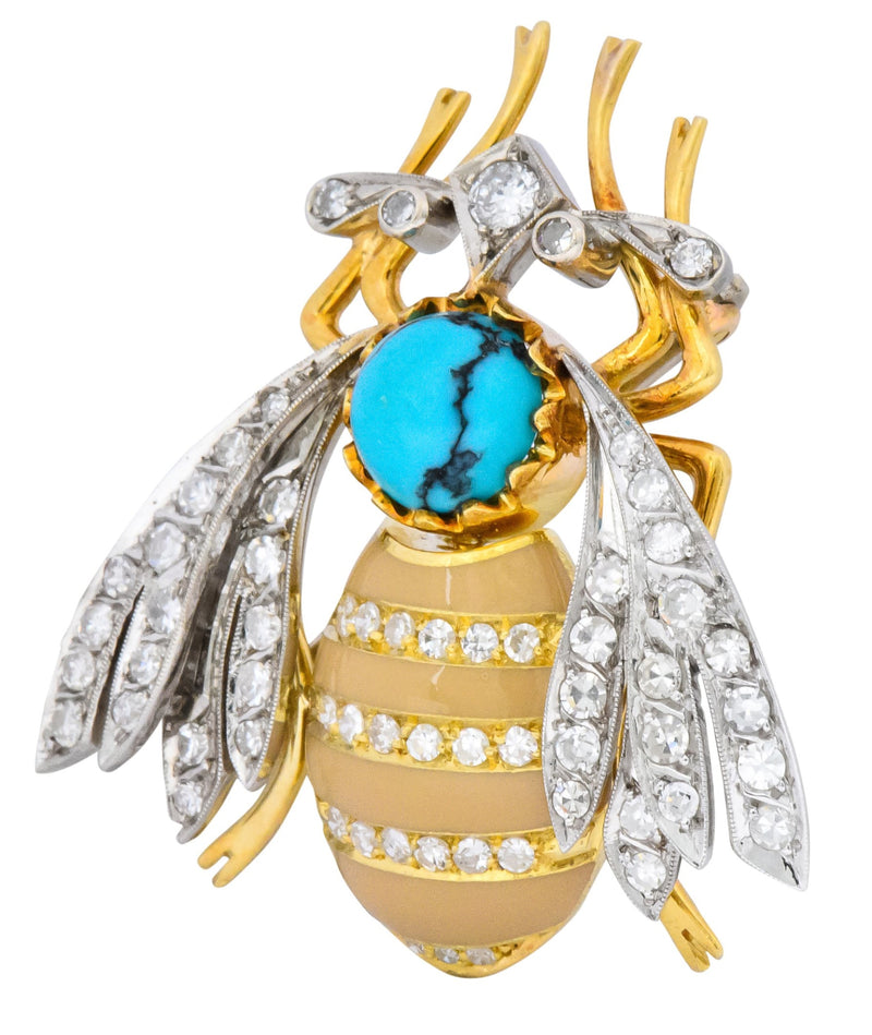 Vintage 1.71 CTW Diamond Turquoise Enamel Platinum 18 Karat Gold Insect Brooch - Wilson's Estate Jewelry