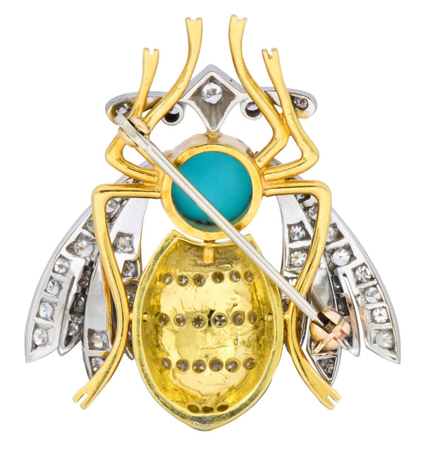 Vintage 1.71 CTW Diamond Turquoise Enamel Platinum 18 Karat Gold Insect Brooch Brooch