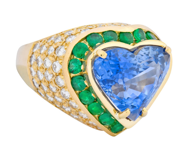 Vintage 14.09 CTW Sapphire Diamond Emerald 18 Karat Gold Heart Cocktail Ring Ring