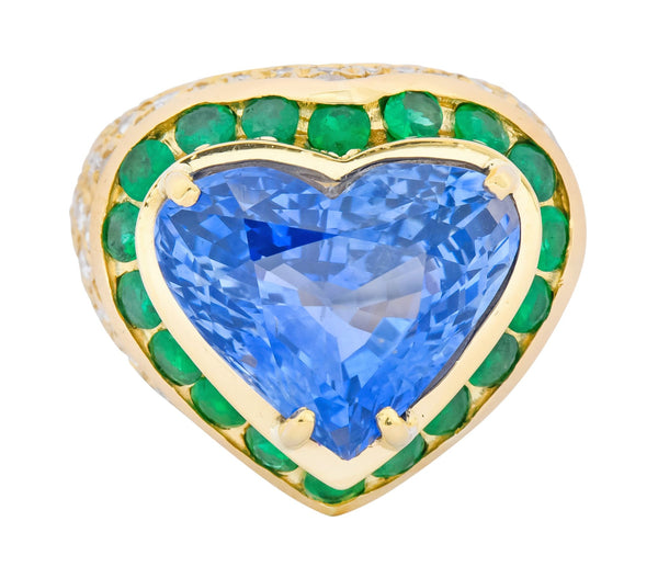 Vintage 14.09 CTW Sapphire Diamond Emerald 18 Karat Gold Heart Cocktail Ring Ring Contemporary diamond emerald out-of-stock pave