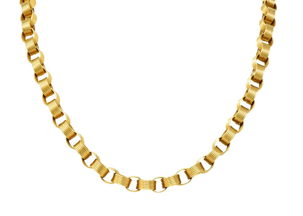 Vintage 1960s 18 Karat Yellow Gold Large Linked Rolo Chain Necklace Necklace