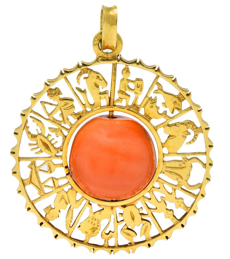 Vintage 1960's Coral 18 Karat Yellow Gold Zodiac Articulated Pendant - Wilson's Estate Jewelry