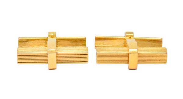Vintage 1960s French 18 Karat Gold Mens Articulated Bar Cufflinks Cufflinks