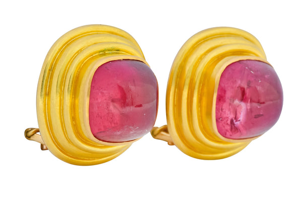 Vintage 1980s Elizabeth Locke Pink Tourmaline 19 Karat Gold Ear-Clip Earrings Earrings