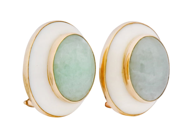 Vintage 1990's Jade Coral Cabochon 14 Karat Gold Earrings - Wilson's Estate Jewelry