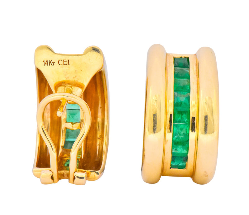 Vintage 2.40 CTW Emerald 14 Karat Yellow Gold J Hoop Earrings - Wilson's Estate Jewelry