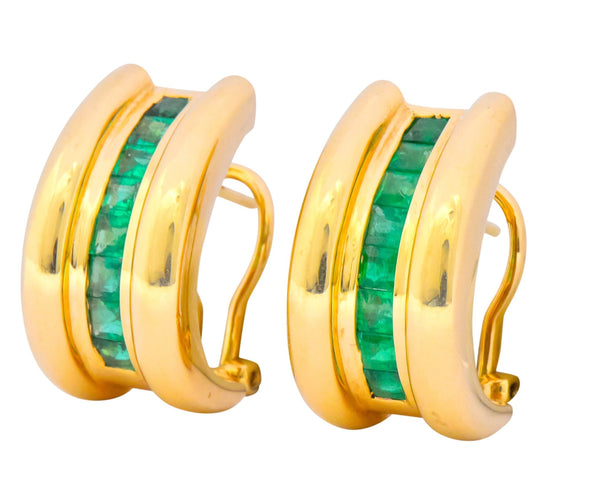 Vintage 2.40 CTW Emerald 14 Karat Yellow Gold J Hoop Earrings Earrings