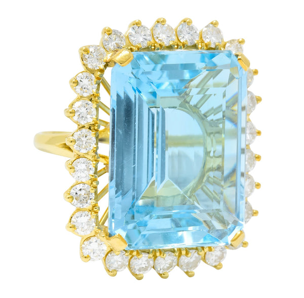 Vintage 30.50 CTW Aquamarine Diamond 18 Karat Gold Cluster Cocktail Ring - Wilson's Estate Jewelry