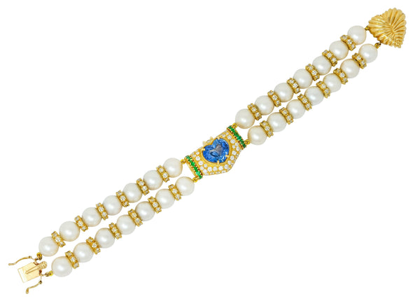 Vintage 35.50 CTW Sapphire Emerald Diamond Pearl 18 Karat Gold Heart Bracelet - Wilson's Estate Jewelry