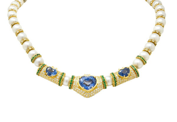 Vintage 35.50 CTW Sapphire Emerald Diamond Pearl 18 Karat Gold Heart Necklace Necklace Contemporary diamond diamonds Emerald Pearl