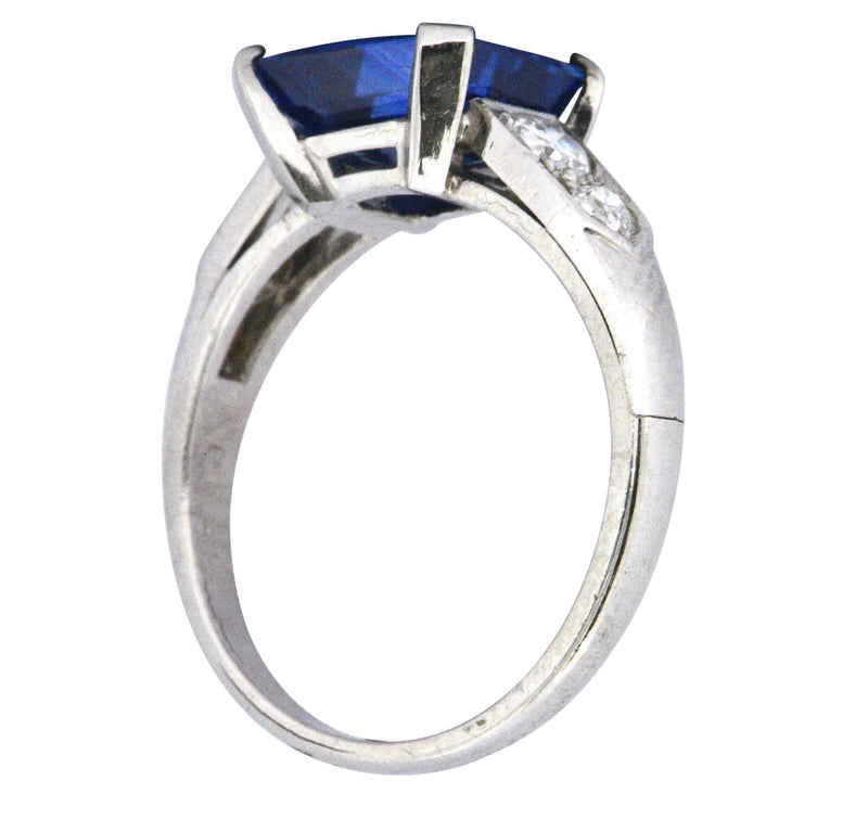 Vintage 4.11 CTW Unheated Ceylon Sapphire & Diamond Palladium Alternative Ring AGL - Wilson's Estate Jewelry