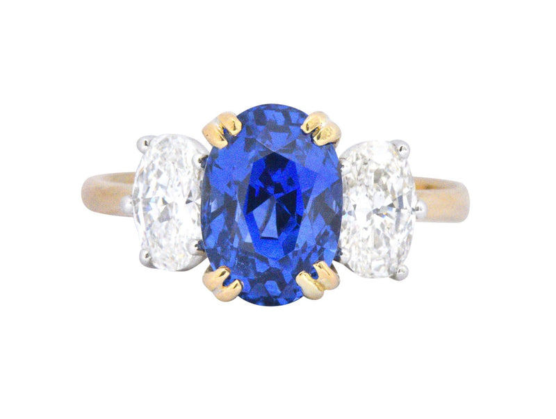 Vintage 4.22 No Heat Natural Sapphire Diamond Platinum 18 Karat Yellow Gold Ring AGL Ring