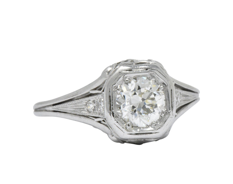 Vintage Art Deco 0.73 CTW Diamond Platinum Engagement Ring - Wilson's Estate Jewelry