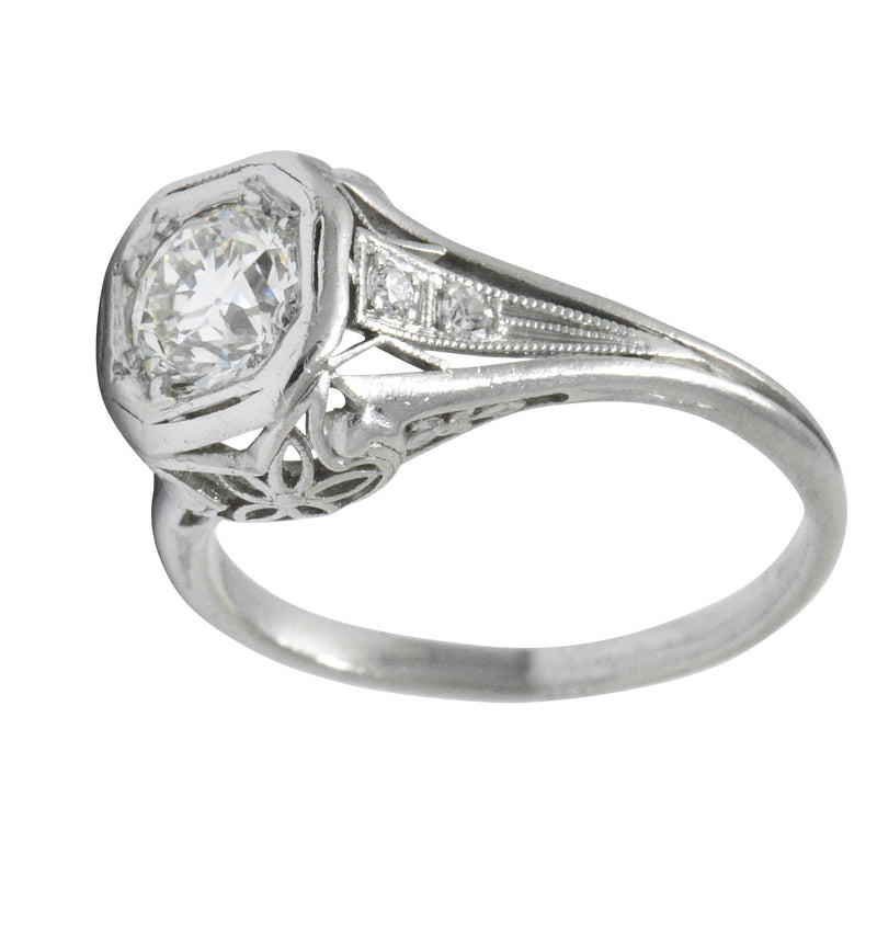 Vintage Art Deco 0.73 CTW Diamond Platinum Engagement Ring Ring