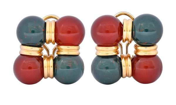 Vintage Carnelian Bloodstone 14 Karat Gold Square Ball Earrings Circa 1980s Earrings bloodstone carnelian Contemporary out-of-stock
