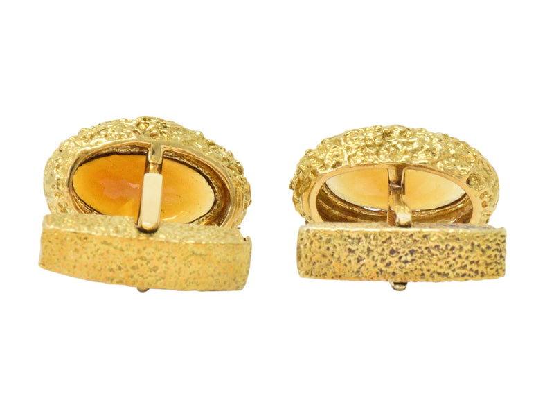 Vintage Citrine 18 Karat Yellow Gold Cufflinks - Wilson's Estate Jewelry
