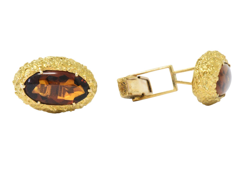 Vintage Citrine Cabochon 18 Karat Gold Men's Cufflinks - Wilson's Estate Jewelry