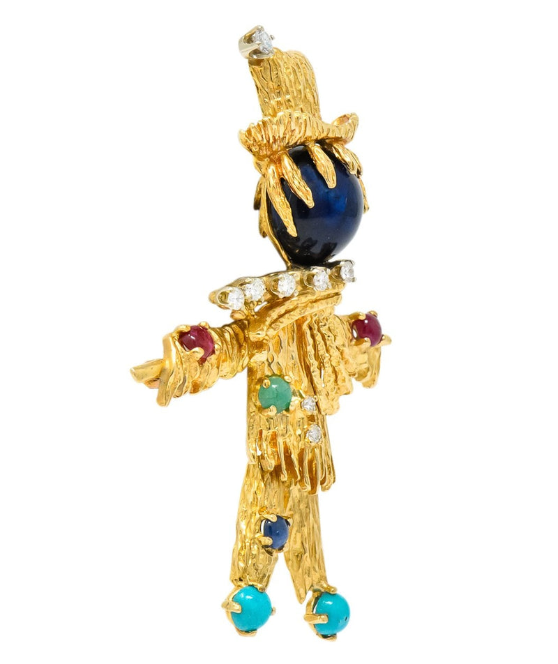 Vintage Diamond Sapphire Ruby Multi-Gem 14 Karat Gold Scarecrow Brooch - Wilson's Estate Jewelry