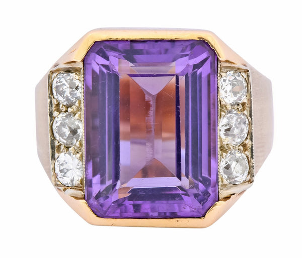 Vintage Emerald Cut Amethyst Diamond 14 Karat Gold Statement Ring Ring