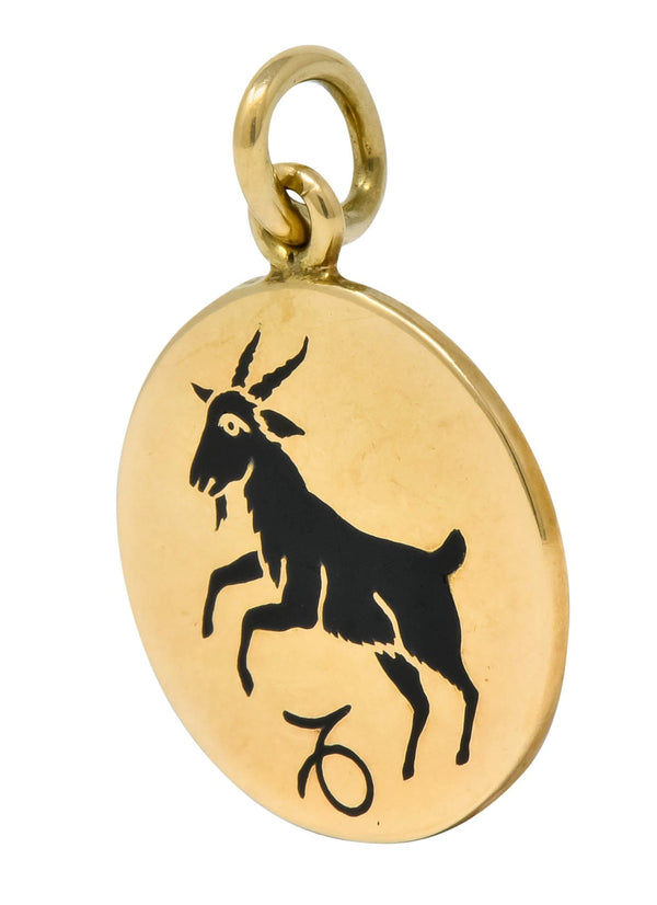 Vintage Enamel 14 Karat Yellow Gold Capricorn Zodiac Charm charm Charm out-of-stock vintage Zodiac
