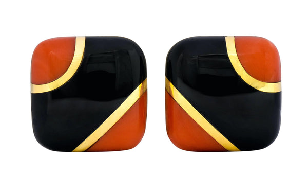 Vintage Onyx Coral 18 Karat Gold Square Cushion Inlay Earrings - Wilson's Estate Jewelry