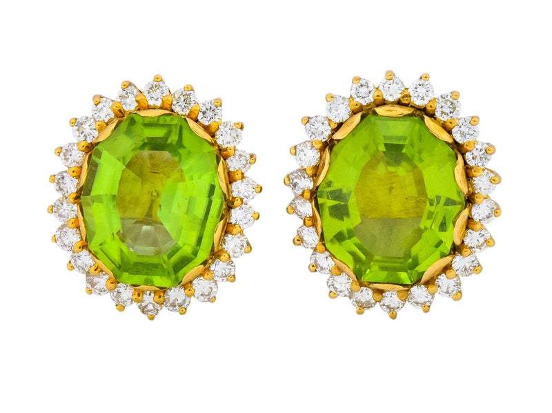 Vintage Peridot 7.90 CTW Diamond 18 Karat Gold Earrings - Wilson's Estate Jewelry
