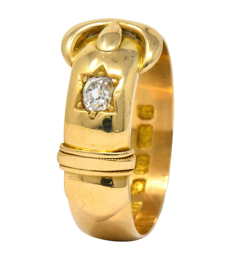 Walker & Hall Victorian Old Mine Diamond 18 Karat Gold Buckle Band Ring - Wilson's Estate Jewelry