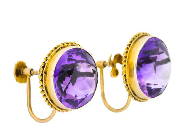 Walter Lampl 13.00 CTW Amethyst 14 Karat Gold Earrings Earrings