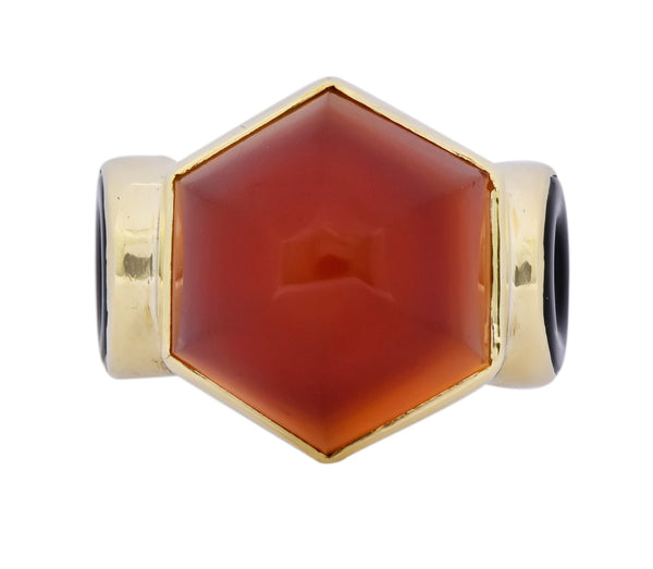 Walter Lampl Art Deco Carnelian Onyx 14 Karat Gold Cocktail Ring Circa 1930s Ring art deco carnelian Most Wanted onyx