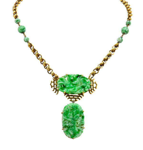 Walter Lampl Retro Jade 14 Karat Yellow Gold Drop Necklace Necklace jade out-of-stock retro