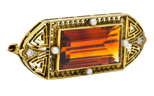 Walton & Co. Art Deco 10.46 CTW Citrine Pearl Diamond 14 Karat Gold Brooch Brooch