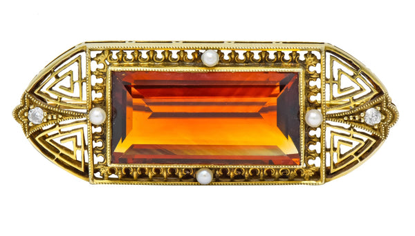Walton & Co. Art Deco 10.46 CTW Citrine Pearl Diamond 14 Karat Gold Brooch Brooch art deco Citrine diamond pearl