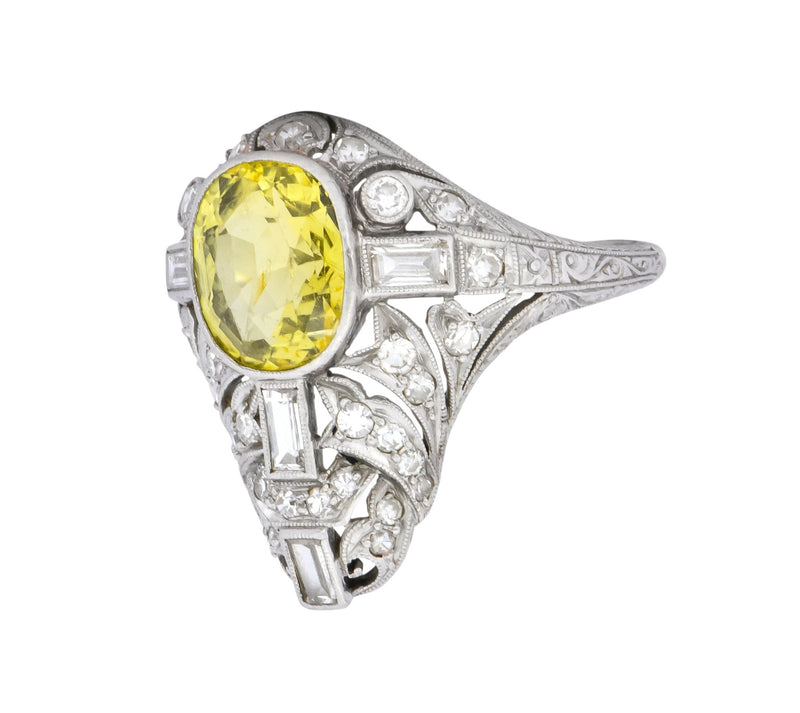 Walton & Co. Belle Epoque 3.70 CTW Chrysoberyl Diamond Platinum Dinner Ring Ring