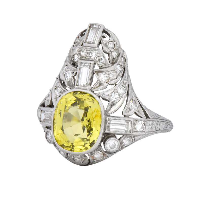 Walton & Co. Belle Epoque 3.70 CTW Chrysoberyl Diamond Platinum Dinner Ring - Wilson's Estate Jewelry