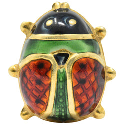 Whimsical Retro Enamel 18 Karat Gold Insect Ladybug Brooch - Wilson's Estate Jewelry