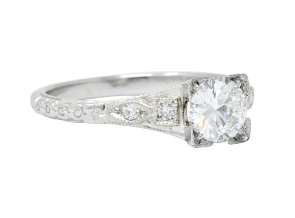 White Rose Jewelry Mfg. Co. Art Deco 0.78 CTW Diamond 18 Karat White Gold Engagement Ring GIA Ring